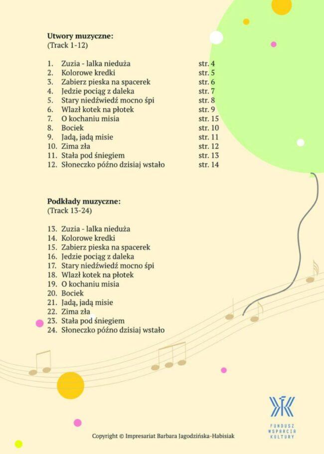 Muzykalne przedszkolaki - okładka tylna
